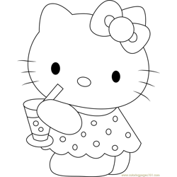 Hello Kitty Drinks Juice Free Coloring Page for Kids