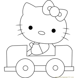 Hello Kitty Driving a Car Free Coloring Page for Kids
