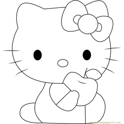 Hello Kitty Eat Apple Free Coloring Page for Kids