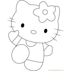 Hello Kitty Pink Free Coloring Page for Kids