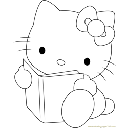 Hello Kitty Reading a Book Free Coloring Page for Kids