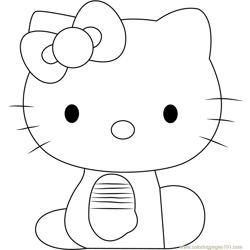 Hello Kitty Sitting Free Coloring Page for Kids
