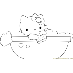Hello Kitty in Bathtub Free Coloring Page for Kids