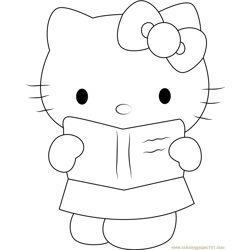 Hello Kitty see in Book Free Coloring Page for Kids