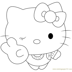 Hello Kitty the Cat Free Coloring Page for Kids
