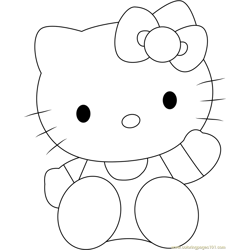 Lovely Hello Kitty Free Coloring Page for Kids