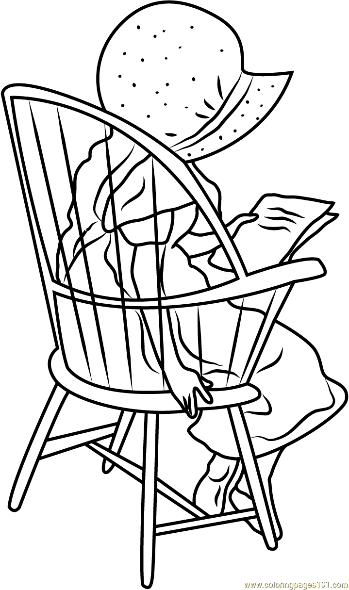 Holly Hobbie Sitting On Chair Coloring Page Free Holly
