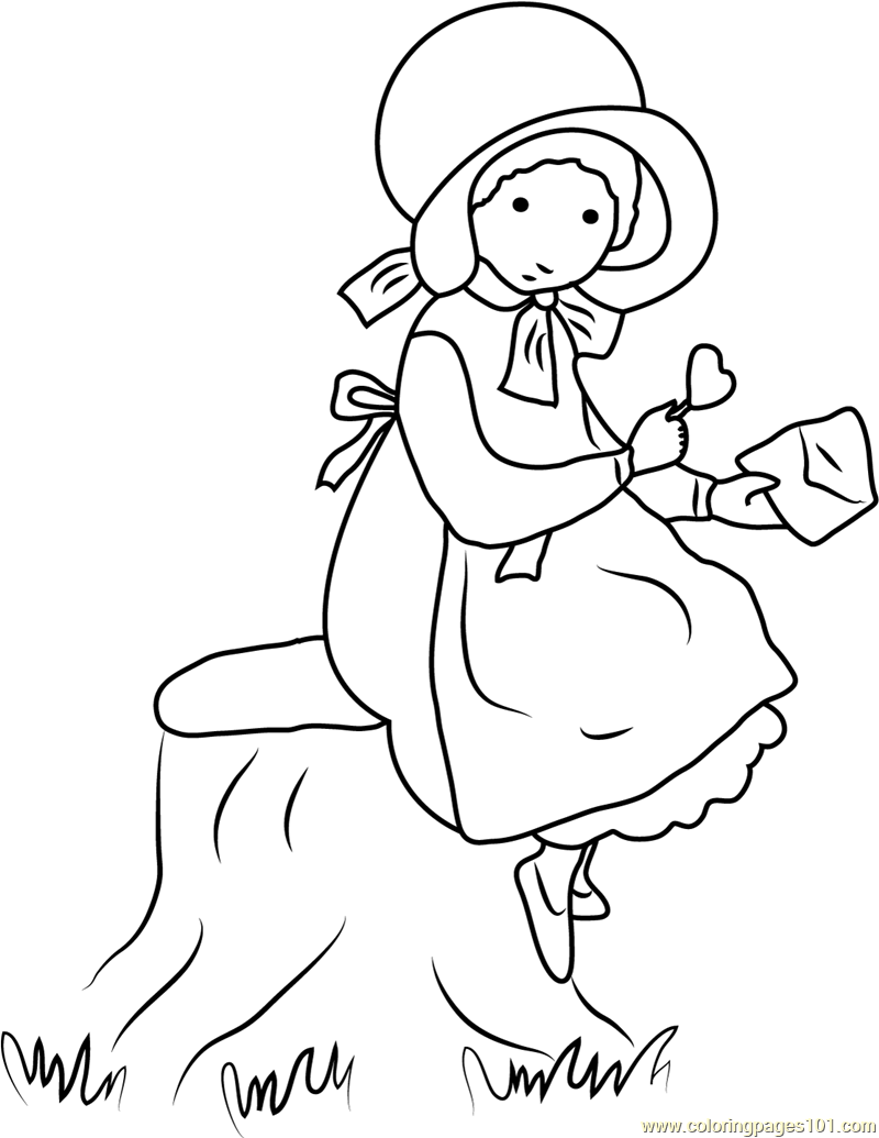 Holly Hobbie Standing near Tree Coloring Page