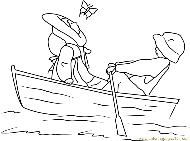 holly hobbie and a boy in a boat coloring page