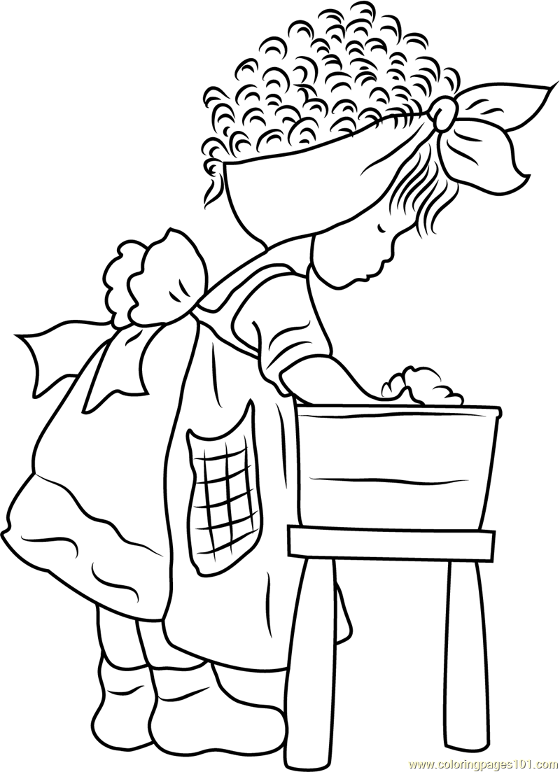 Holly Hobbie doing Doll Bath Coloring Page Free Holly