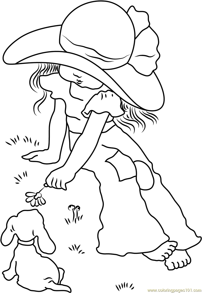 Holly Hobbie with Dog Coloring Page