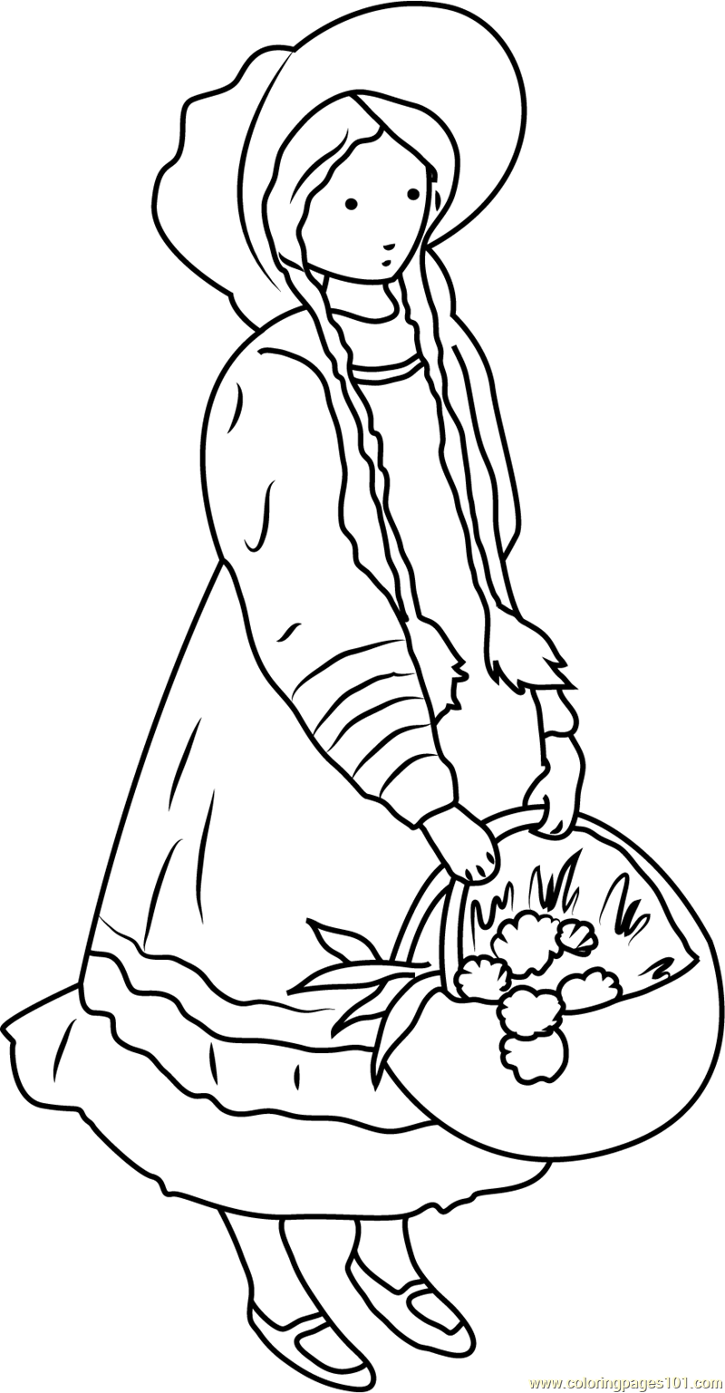 Holly Hobbie with Flower Basket Coloring Page