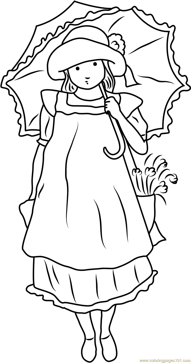 Holly Hobbie with Umbrella Coloring Page Free Holly Hobbie