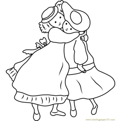 Holly Hobbie Hugs his Friend coloring page
