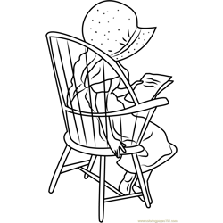 Holly Hobbie Sitting on Chair Free Coloring Page for Kids