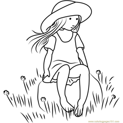 Holly Hobbie Sitting on Rock Free Coloring Page for Kids