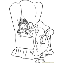 Holly Hobbie Sleeping on Chair Free Coloring Page for Kids