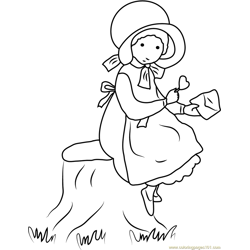 Holly Hobbie Standing near Tree Free Coloring Page for Kids