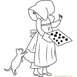 Holly Hobbie with Cat Free Coloring Page for Kids