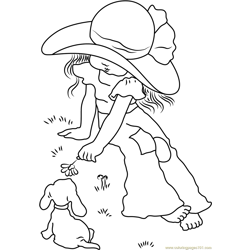 Holly Hobbie with Dog Free Coloring Page for Kids