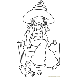 Holly Hobbie with Hen Free Coloring Page for Kids