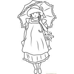 Holly Hobbie with Umbrella Free Coloring Page for Kids