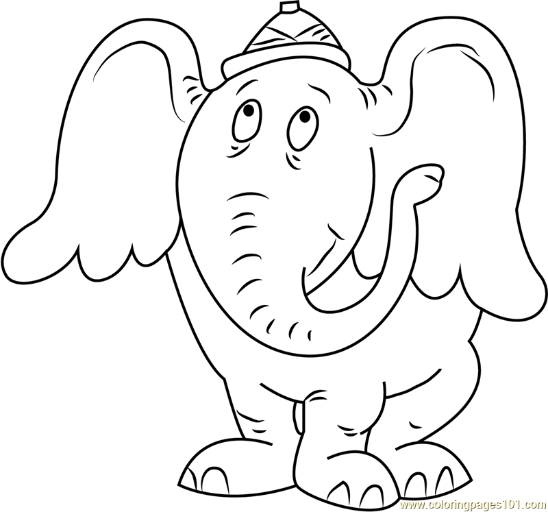 Horton Looking Up Coloring Page Free Horton Coloring