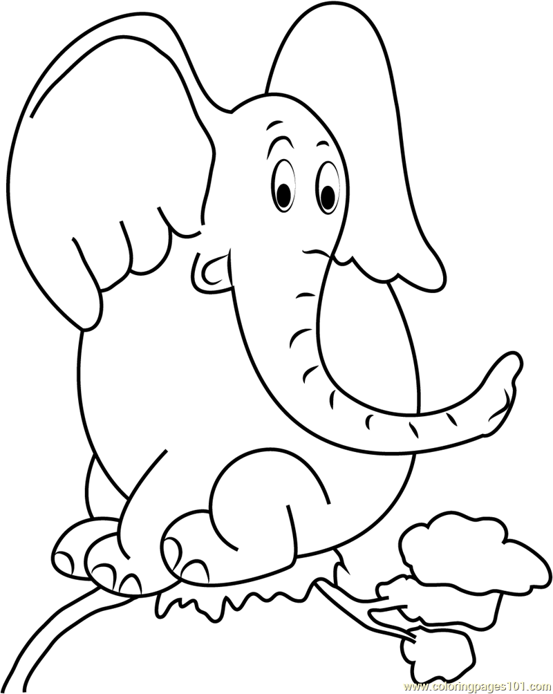 Horton Sitting On Tree Coloring Page