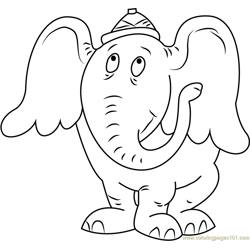 Horton Looking Up Free Coloring Page for Kids