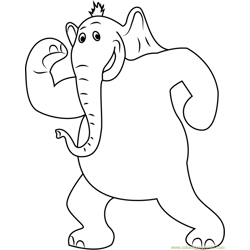 Horton Showing Body Free Coloring Page for Kids