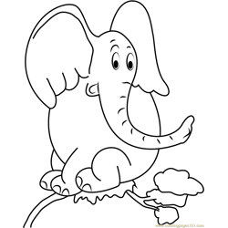 Horton Sitting on Tree Free Coloring Page for Kids