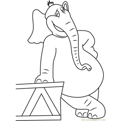 Horton Smiling Free Coloring Page for Kids