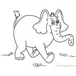 Horton Walking Free Coloring Page for Kids