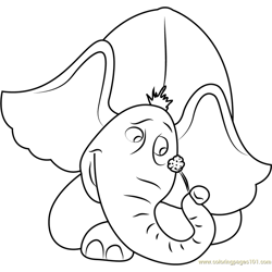 Horton having Flower Free Coloring Page for Kids
