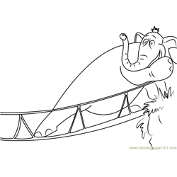 Horton on Bridge Free Coloring Page for Kids
