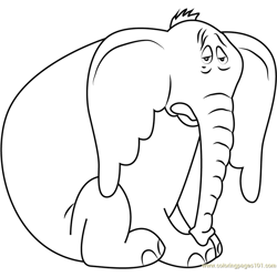 Sad Horton Free Coloring Page for Kids