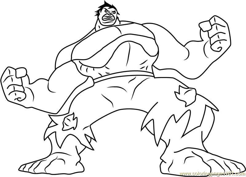 Hulk Green Monster Coloring Page - Free Hulk Coloring Pages ...