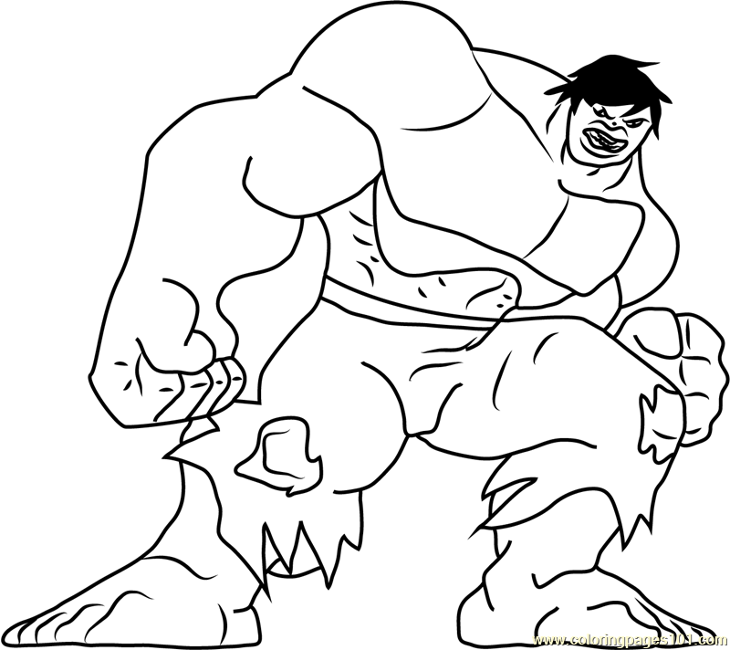 Hulk Looking at You Coloring Page