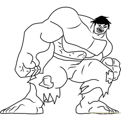 Hulk Looking at You Free Coloring Page for Kids