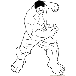 Incredible Hulk Free Coloring Page for Kids
