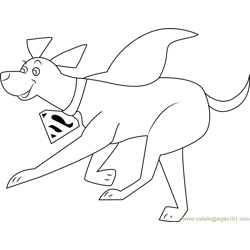 Krypto Running Free Coloring Page for Kids