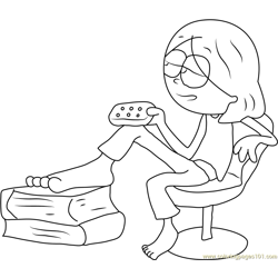 Lizzie McGuire Sitting on Chair Free Coloring Page for Kids
