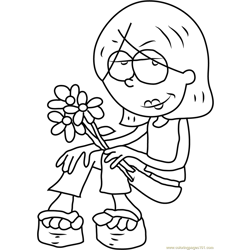 Lizzie McGuire having Flowers Free Coloring Page for Kids