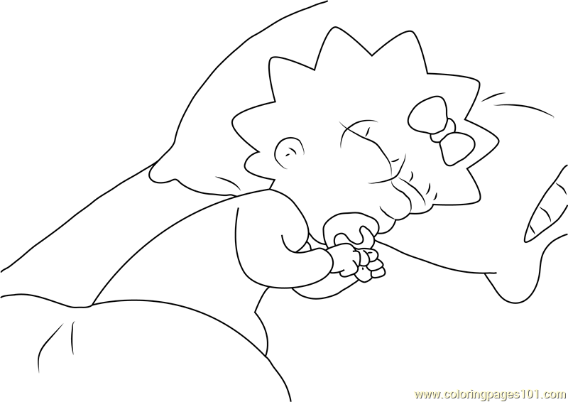 maggie simpson sleeping on bed coloring page - Bed Coloring Pages