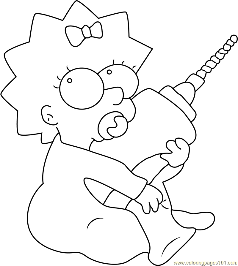 Maggie Simpson With Drill Machine Coloring Page Free Maggie - Simpsons-coloring-pages