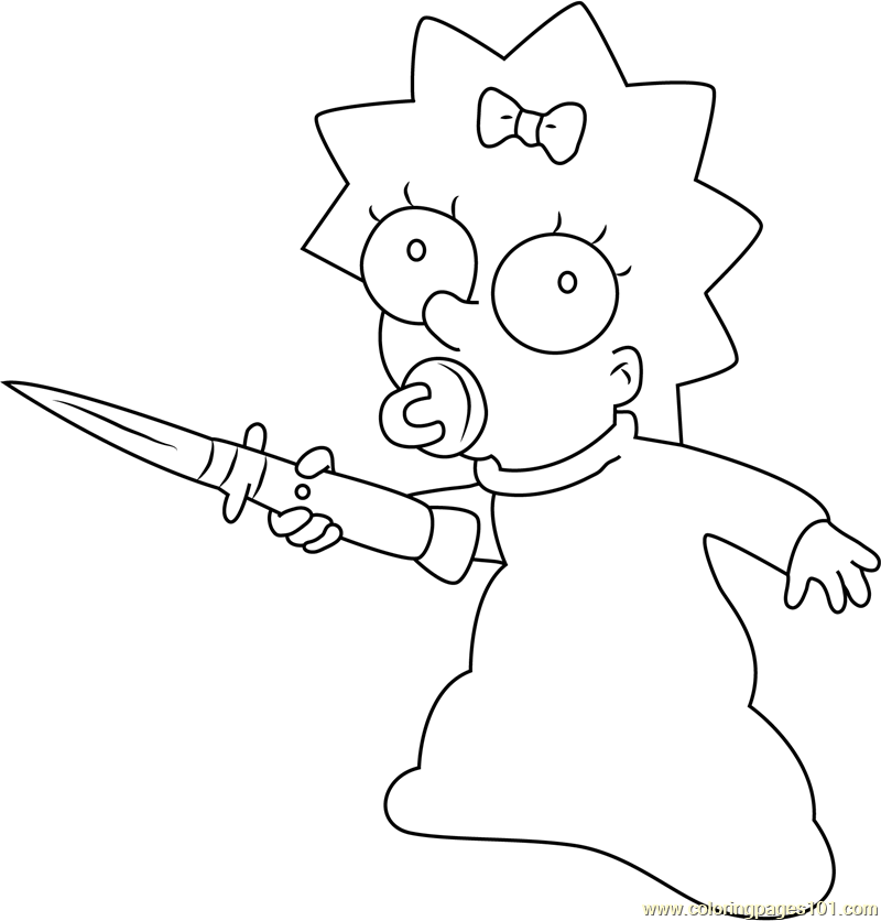 Maggie Simpson with a Knife Coloring Page - Free Maggie ...