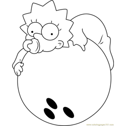 Maggie Simpson Bowling Free Coloring Page for Kids