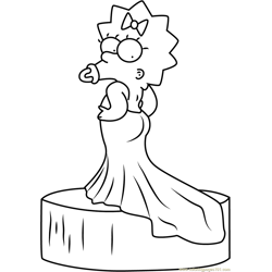 Maggie Simpson Red Carpet Oscar Dress Free Coloring Page for Kids