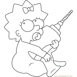 Maggie Simpson with Drill Machine Free Coloring Page for Kids