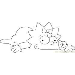 Pretty Maggie Simpson Free Coloring Page for Kids